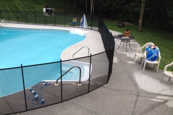 Curved Pool Safety Fence in New England